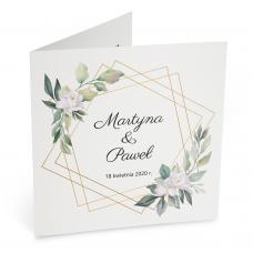 Zaproszenia Ślubne z motywem białych kwiatów na tle liści